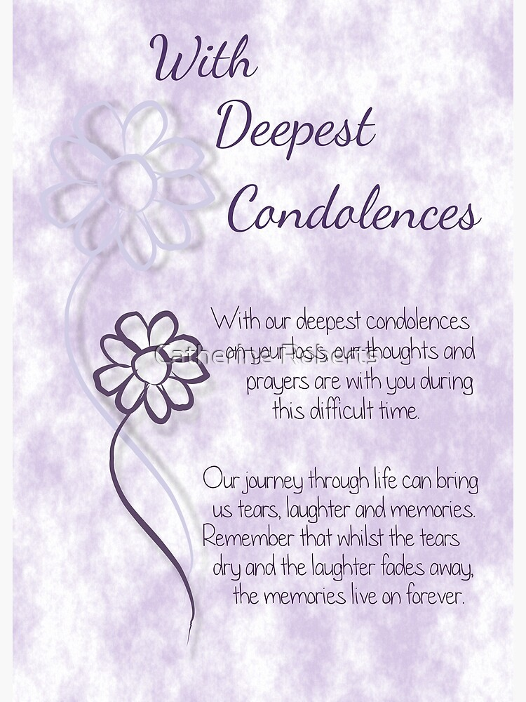 with deepest condolences lilac