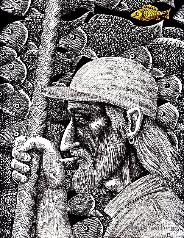 Old Fisherman Surreal Pen Ink Black And White Drawing