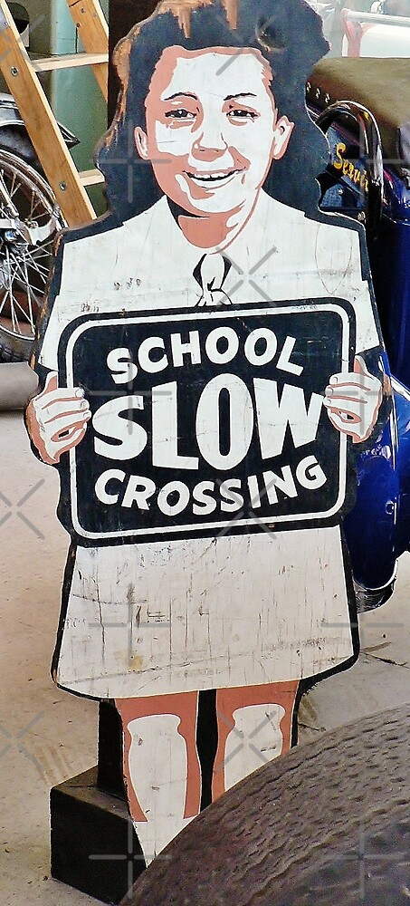 Vintage School Crossing Sign by Martha Sherman  Redbubble