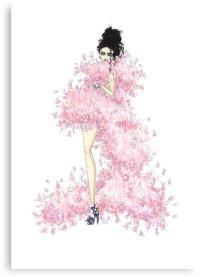 """Fashion Illustration 'Pink Feathers' Fashion Art"" Canvas ..."