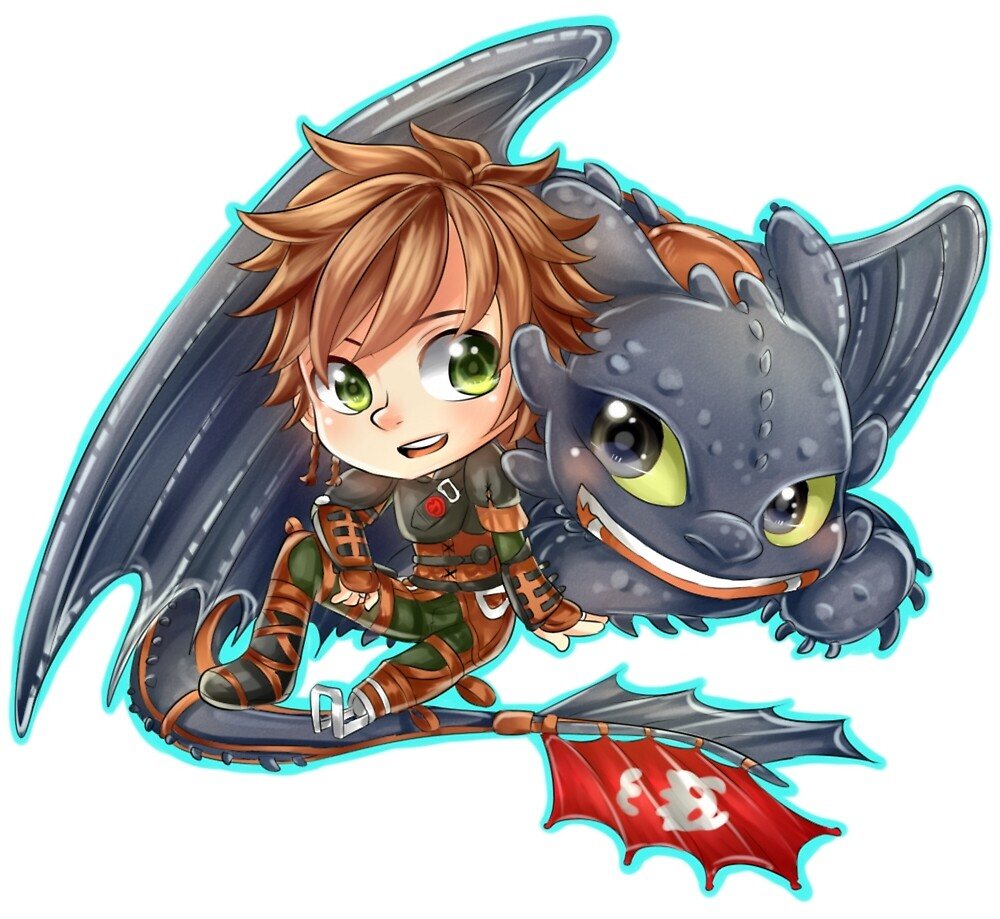 Httyd 2  Chibi Hiccup and Toothless by ibahibut  Redbubble