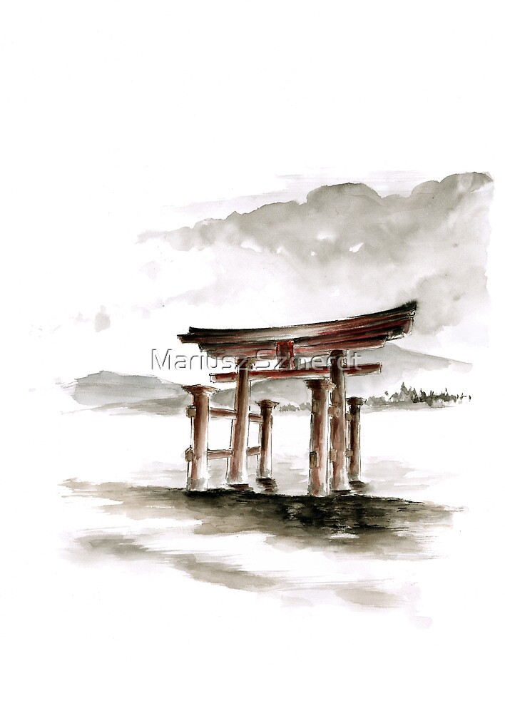 Cool mens gift Anniversary gift Torii Gate japanese art