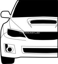 """Sticker / Decal: Subaru WRX STI Front Angle with Corner ..."