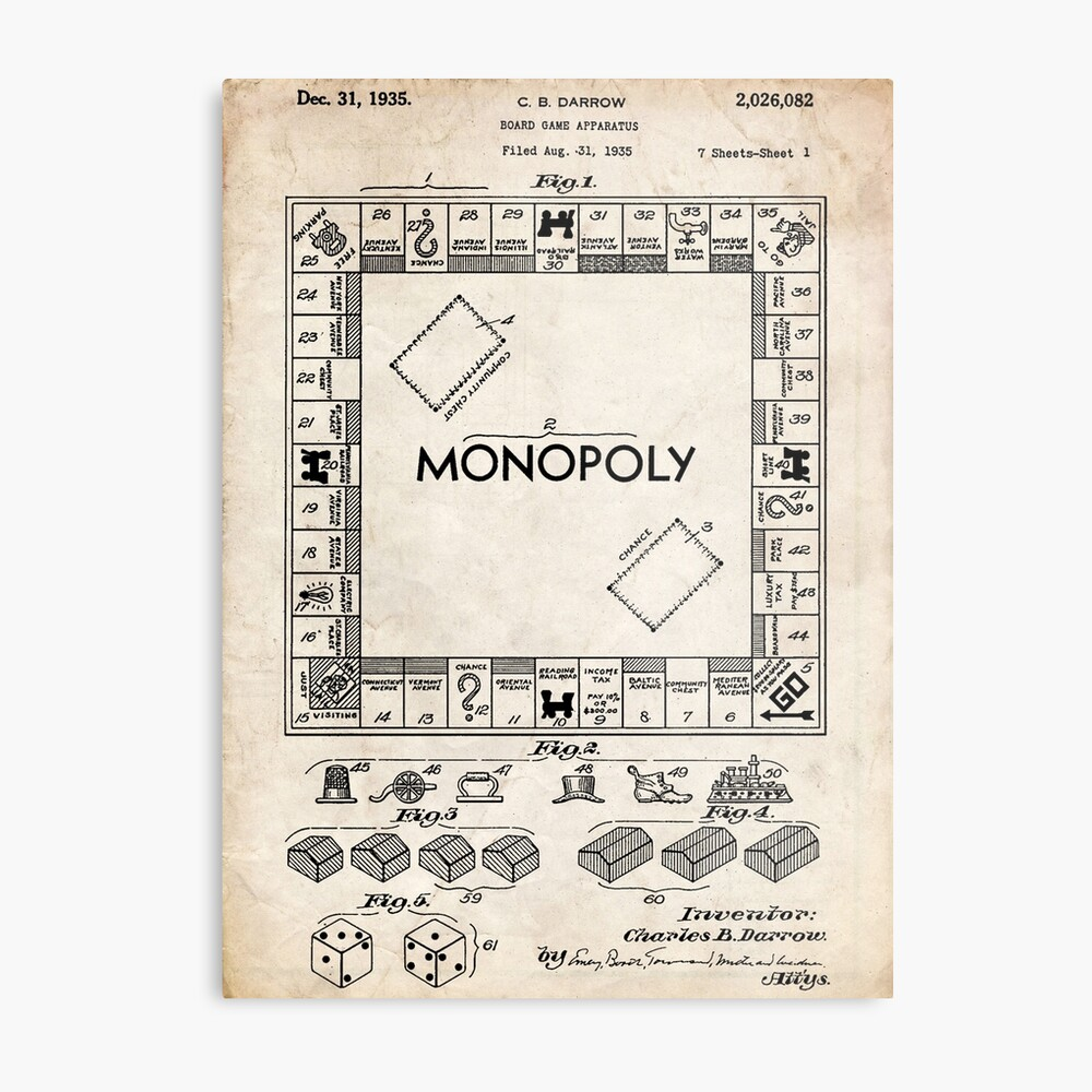 medium resolution of monopoly board game us patent art 1935 metal print