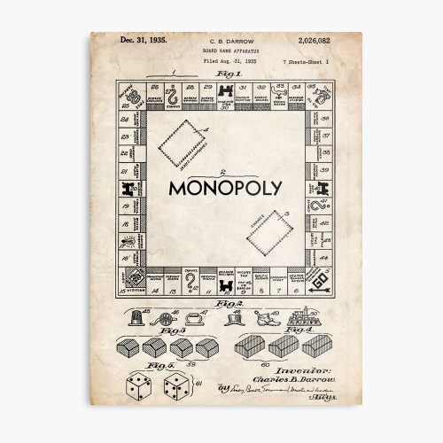 small resolution of monopoly board game us patent art 1935 metal print