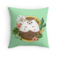 """""""Hedgehog with cactus"""" Throw Pillows by ednama 