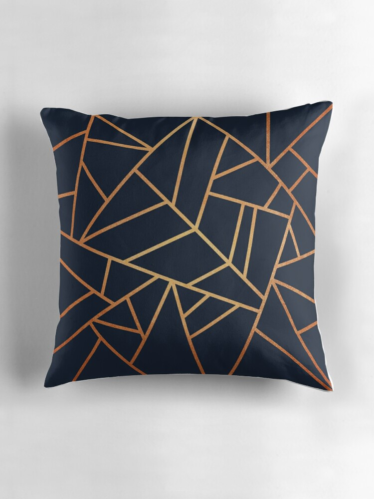 Copper and Midnight Navy Throw Pillows by Elisabeth
