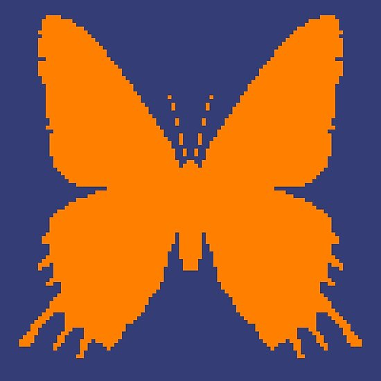 8-bit Simplex pixel Orange butterfly