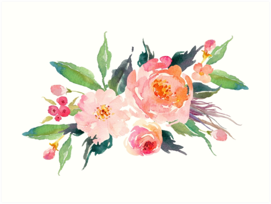 watercolor flower bouquet art
