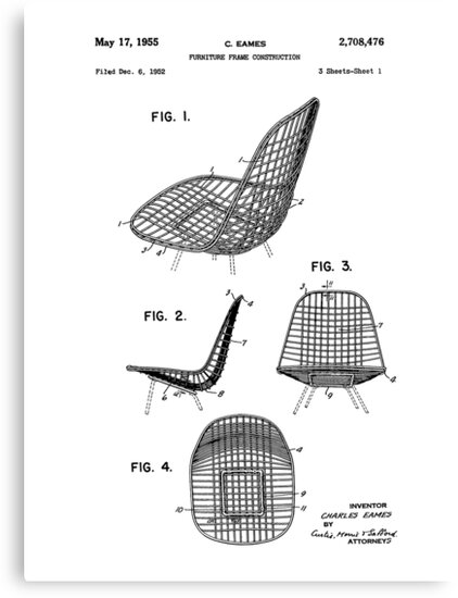 chair design patent office ebay eames dkr iconic mid century modern drawing by framerkat