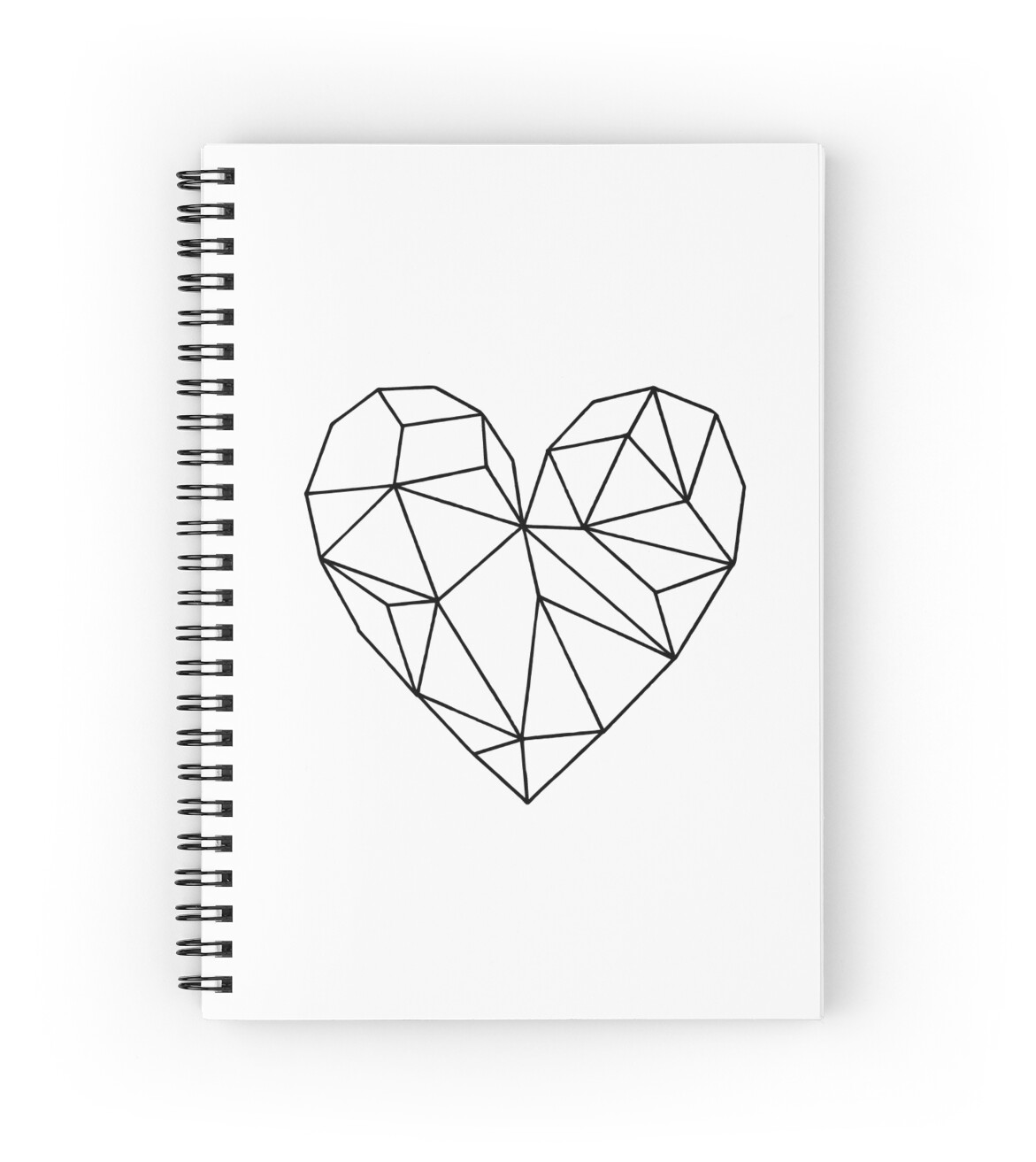 Black Aesthetic Transparent Geometric Heart Spiral