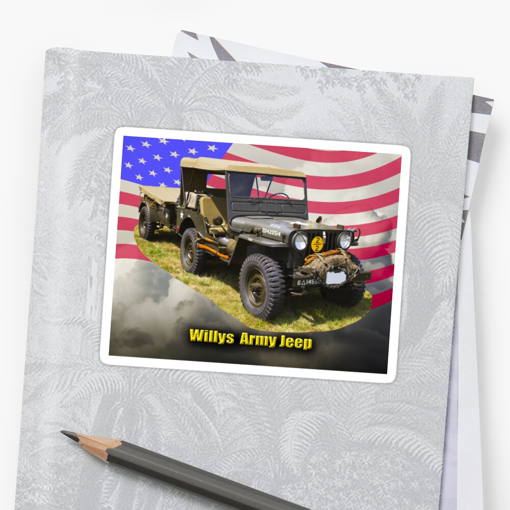 hight resolution of willys world war two army jeep and american flag by kwjphotoart