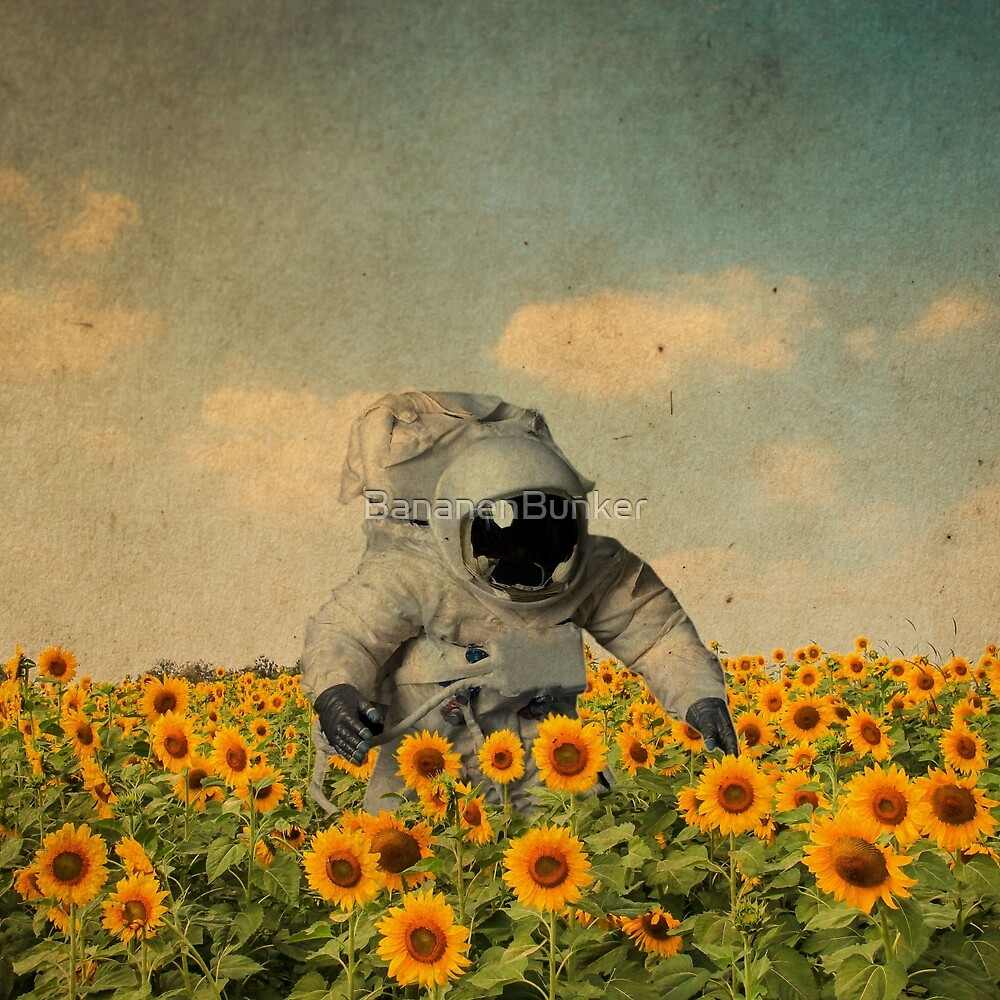 astronaut in a sunflowers field by BananenBunker