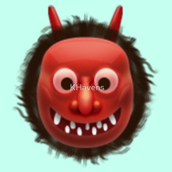 """japanese Ogre Emoji"" Art Prints Khavens Redbubble"
