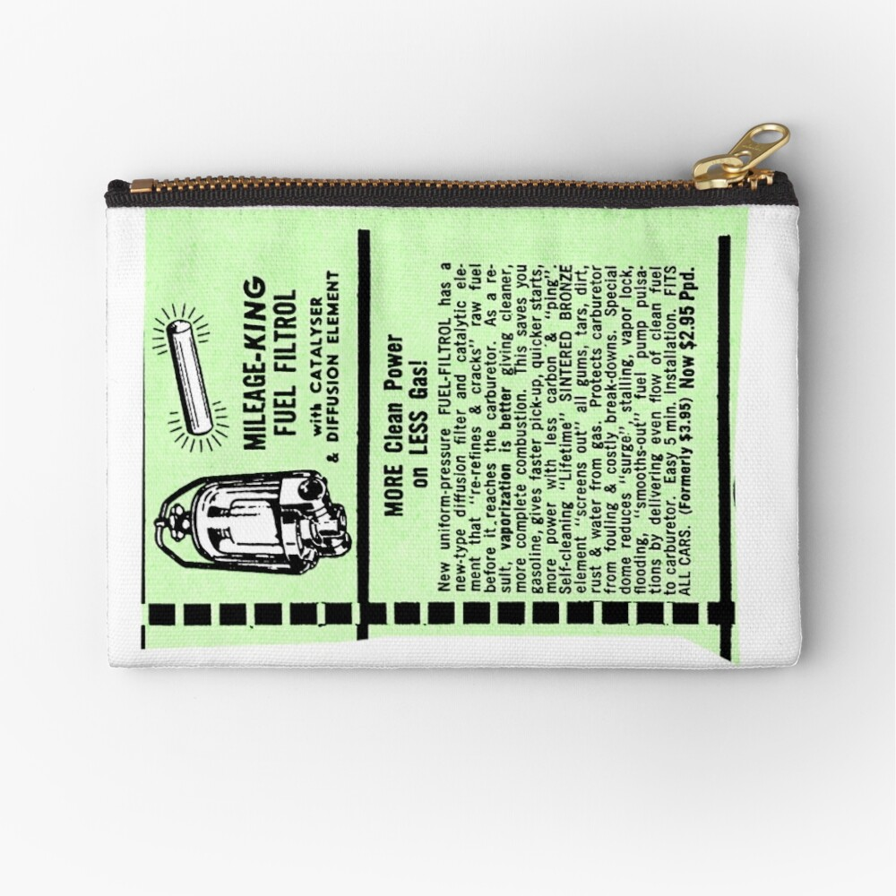 hight resolution of  mileage king fuel filter advert zipper pouch by timothybeighton redbubble