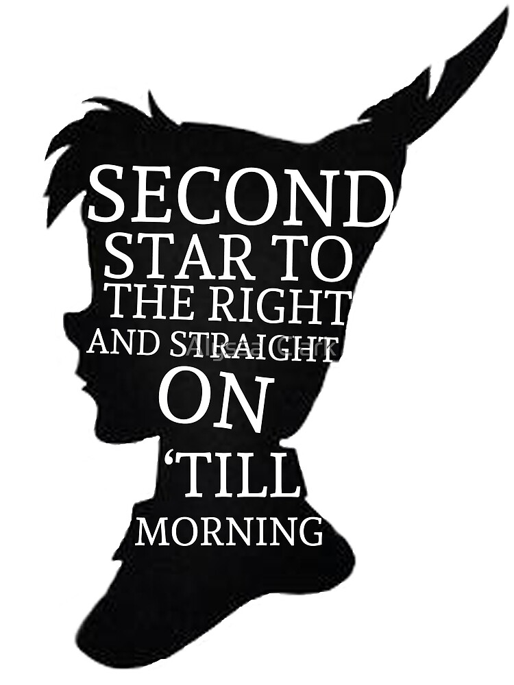 Peter Pan Quote Silhouette  Second Star by Alyssa