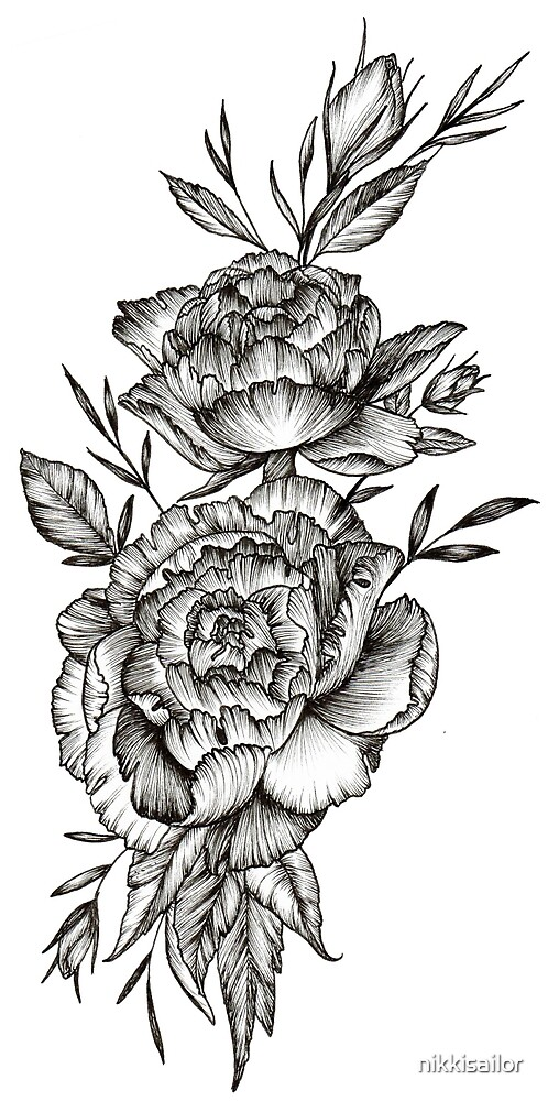 Blackwork Peony by nikkisailor  Redbubble
