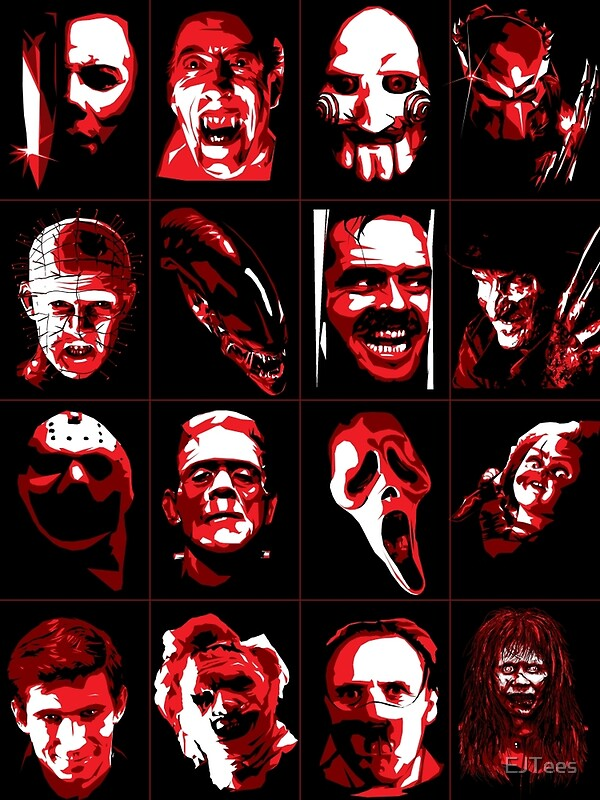 Horror Movie Icons Vector Art Posters By EJTees Redbubble