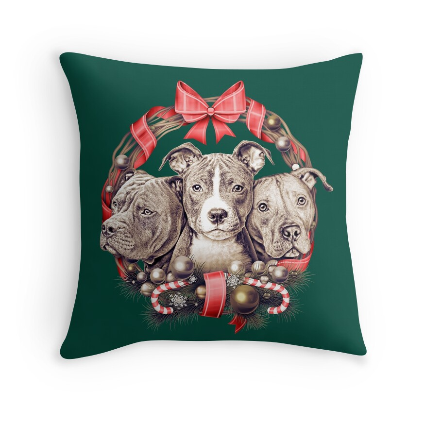 Pitbull Puppies Throw Pillows  Redbubble