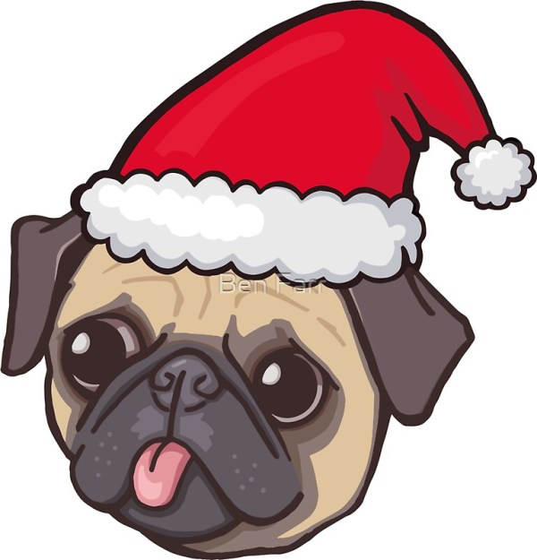 """christmas pug red "" stickers"