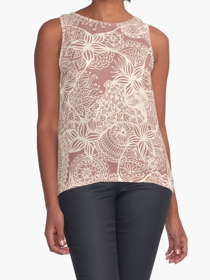 rose gold floral zentangle doodle art tank top