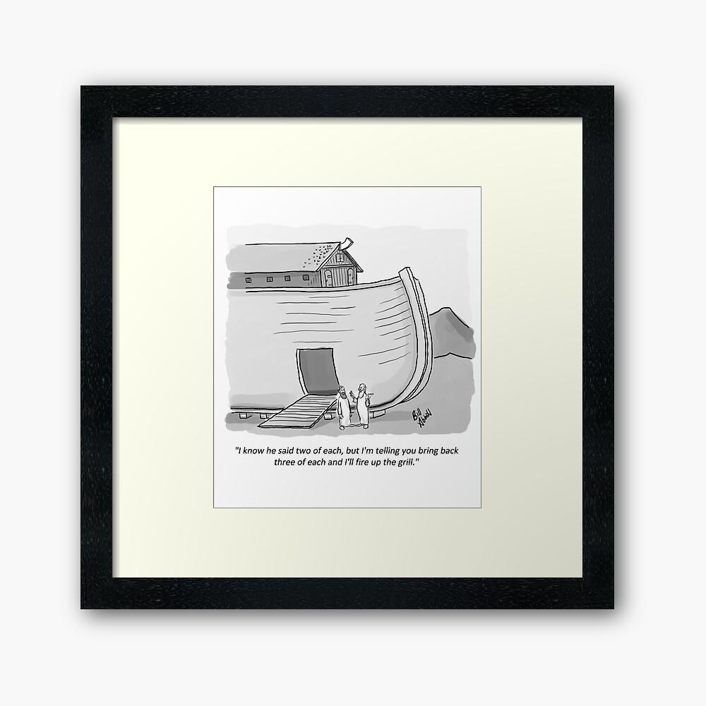 hight resolution of  funny noah s ark cartoon framed art print by abbottoons redbubble