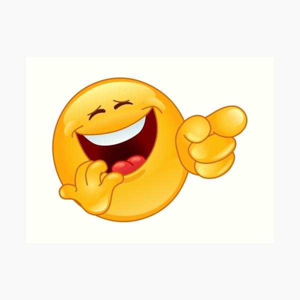 """laughing Emoji Pointing"" Art Print Dusicap Redbubble"