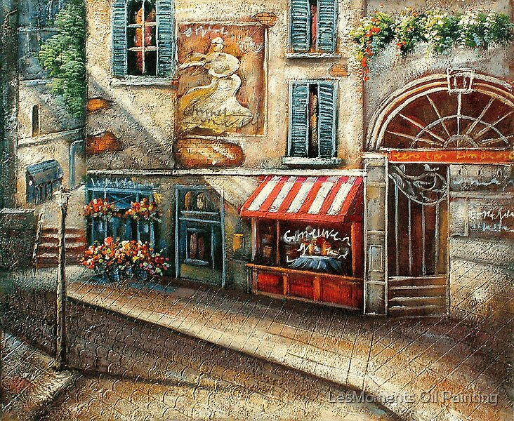 Cobblestone Street with Shops Oil Painting by LesMoments
