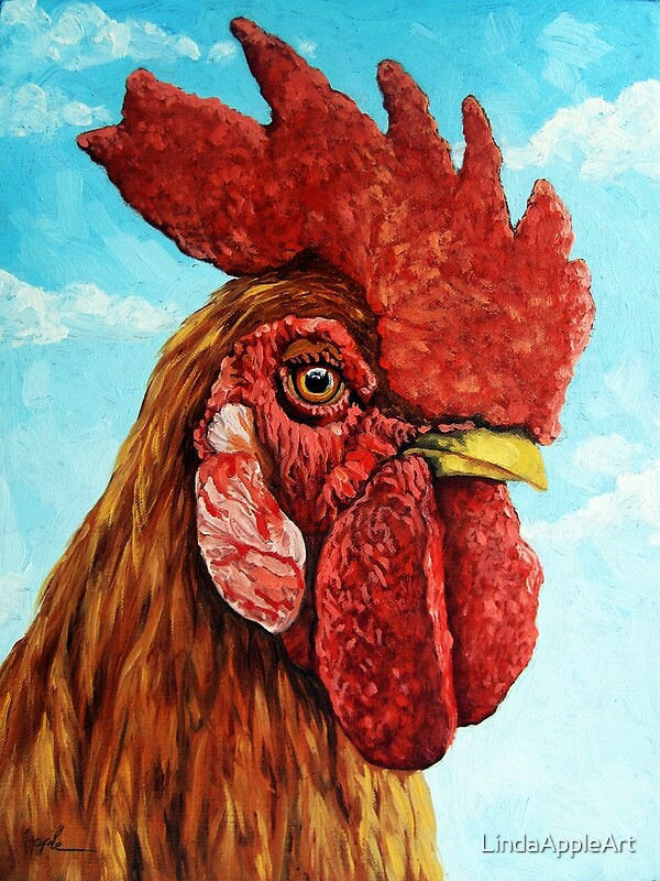ROOSTER  realistic oil painting farm animal by