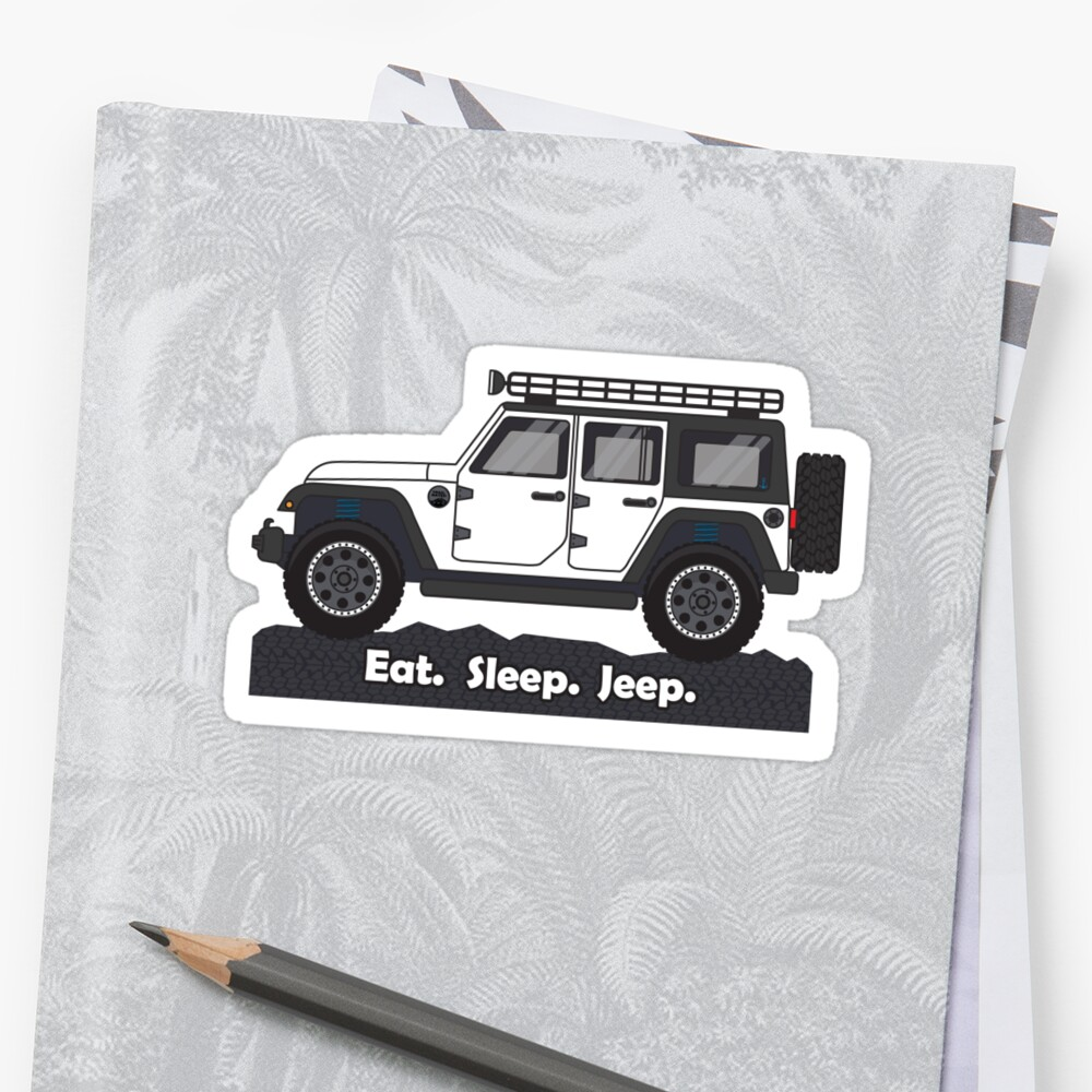 medium resolution of  white jeep wrangler stickers by bluanchor redbubble