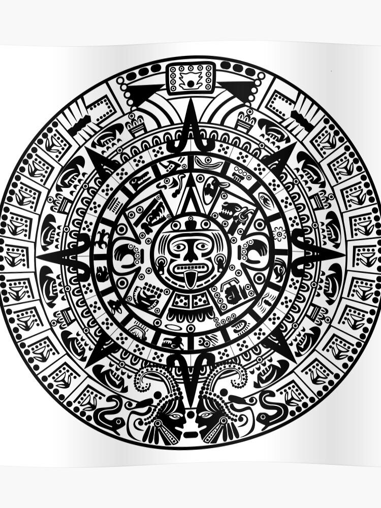 Póster Calendario Maya Azteca De Harshaldesai Redbubble