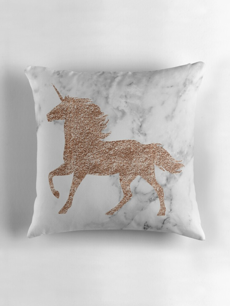 Rose gold marble unicorn Throw Pillows by peggieprints