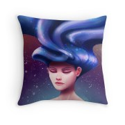 """floating hair"" throw pillows"