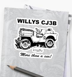 willys cj3b jeep 1 stickers by rflores redbubble [ 1000 x 1000 Pixel ]