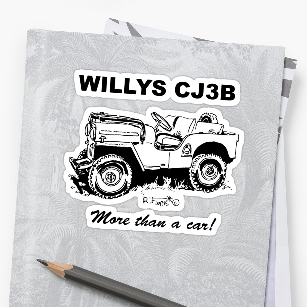 medium resolution of  willys cj3b jeep 1 stickers by rflores redbubble