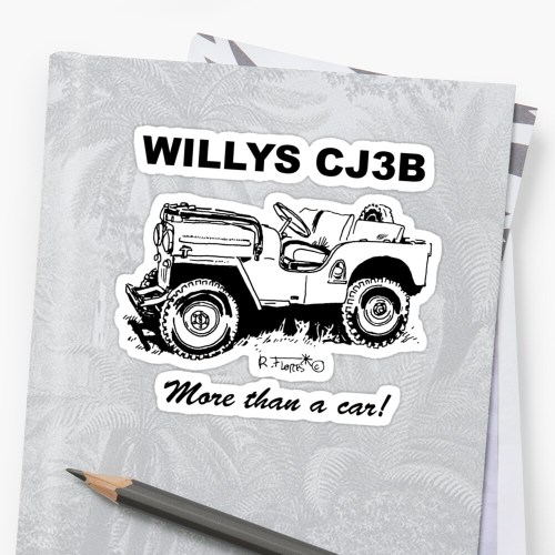 small resolution of  willys cj3b jeep 1 stickers by rflores redbubble