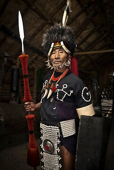Product image link to buy 'Nagaland Tribal Headhunter Warrior' Photographic Print by Glen Allison