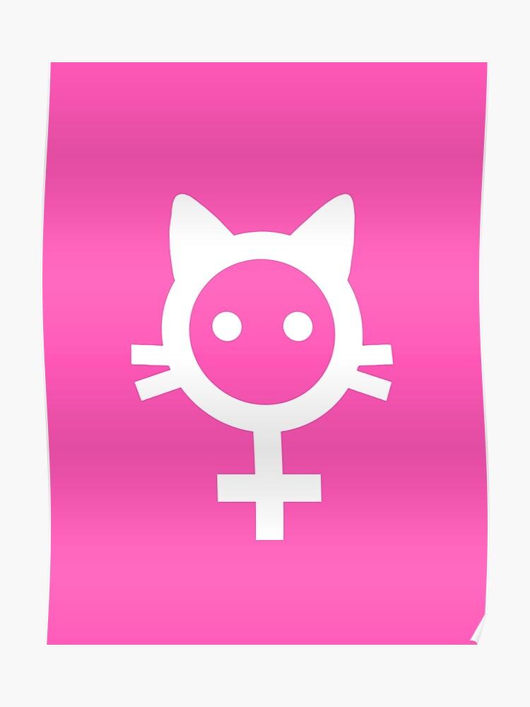 feminist cat white logo