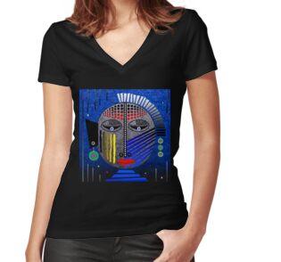 'Tribal Whimsy 12' Women's Fitted V-Neck T-Shirt by Glen Allison
