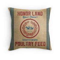 """Vintage Burlap Like Feed Sack"" Throw Pillows by"