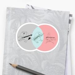 Platypus Venn Diagram Left Brain Right Keytar Gray Blue Pink Stickers By Guyblank