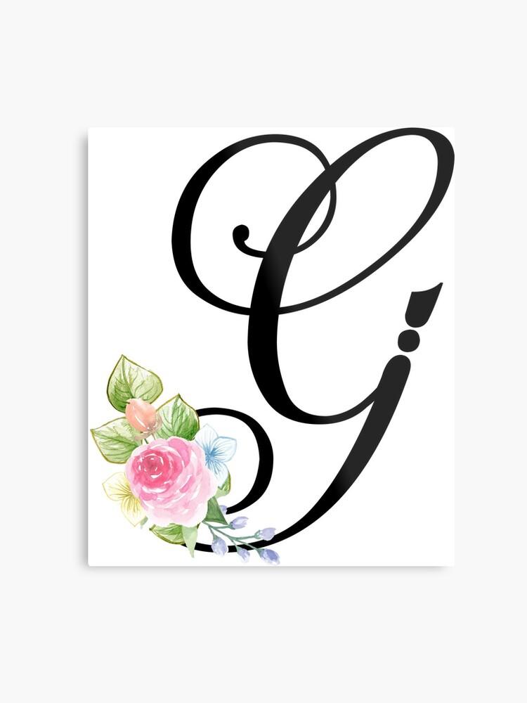 floral monogram fancy script