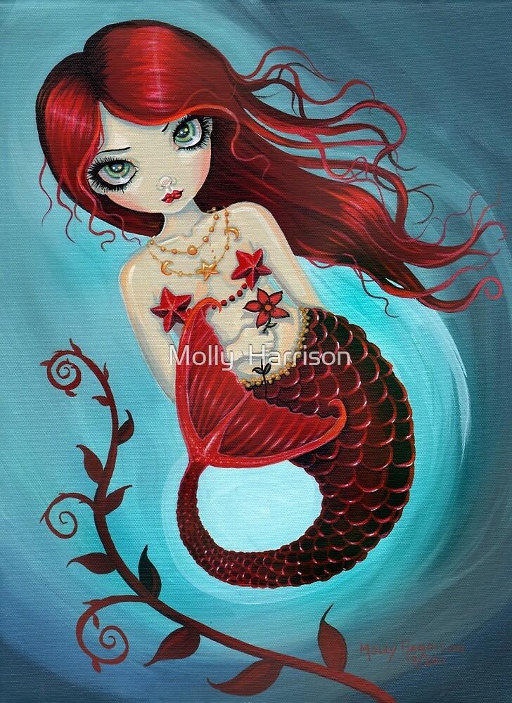Ruby Big Eye Mermaid by Molly Harrison by Molly Harrison
