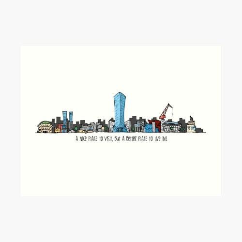 small resolution of  dibujo de skyline bilbao ciudad city art print by artberri redbubble