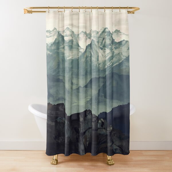 sunset dark pine forest in fall foggy scene twilight image shower curtain set shower curtains home garden worldenergy ae