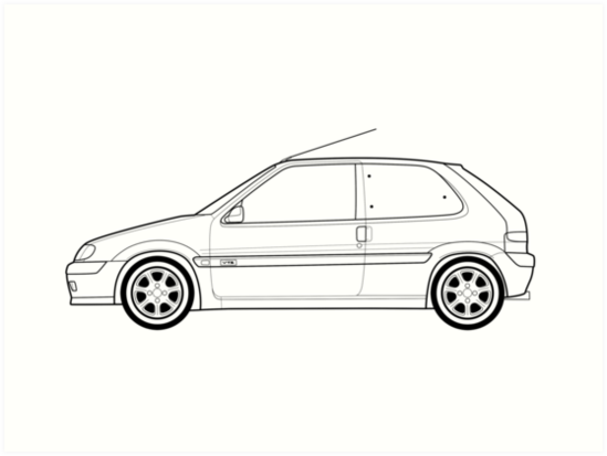« Illustration de Citroen Saxo VTS Outline », Impressions