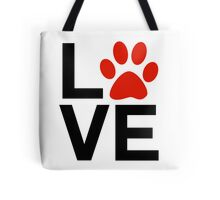 Love Dogs and/or Cats Tote Bags. The letters LOVE in black with a red paw print for the letter O. Dog lover design, saying / quote and Cat lover design.