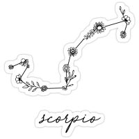 """Scorpio Zodiac Wildflower Constellation"" Stickers by ..."