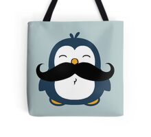 Mustache Penguin Tote Bags. A cute blue chubby penguin with a huge black trendy mustache.
