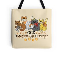 OCD Obsessive Cat Disorder Tote Bag. 10 colorful cats in different colors. Funny cat spoof / parody to obsessive compulsive disorder. For cat lovers and even hoarders. Do they call you the crazy cat lady? Or know anyone who is or could be?